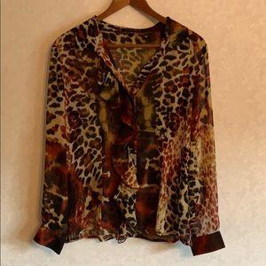 Robert Kitchen Sheer Leopard Button Down Blouse
